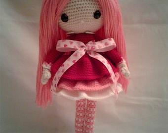 BIBI Crochet Amigurumi Doll - Crochet Girl Doll - Valentine Girl