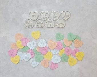 Valentine Candy Conversation Hearts Metal Die Set, Valentine Metal Dies, Heart Dies