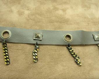 Brown leatherette - 2.5 cm - eyelet Ribbon bronze