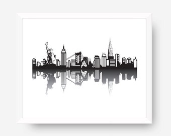 New York Skyline Print, NYC Skyline Printable, New York city scape, NYC Wall Art, Silhouette NY Skyline, Urban Decor, New York Gift Traveler