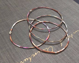 1.5 inch diameter firescale copper circles- copper hoops, rustic copper connector rings, organic circles, copper findings, forged hoops