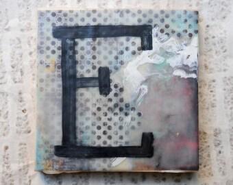 Boho, Shabby Chic, Eclectic Uppercase E: Encaustic Art Monogram