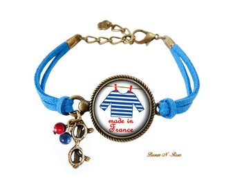 Bracelet Made in France cabochon blue and red striped sailor