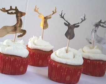 Reindeer Cupcake Toppers, Cake Toppers, Set of 12 Reindeer Haeds, Jumping, Custom Party Decor, Christmas Party Decor, Winter Wedding Decor