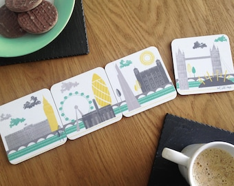 London Skyline / Coaster Set / Gifts For Travelers / Mothers Day Gift / Fathers Day Gift / Gift For Him / Travel Gift / London Coasters