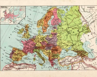 Europe politique / Political Europe / Europe physique / Physical Europe  / Vintage book plate