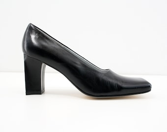 Size 7: Vintage Black Leather Terry Lewis Classic Luxuries Block Heel Retro Classic Heels Pumps Woman's Shoes