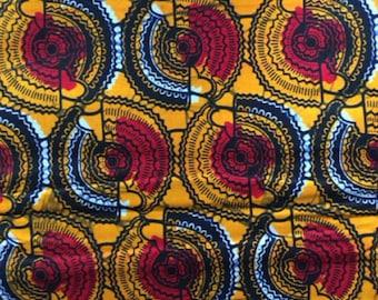 Cotton Bridge. African fabrics-textiles cotton fabric - yellow circles