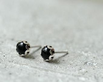 Black onyx stud earrings. Sterling silver posts with black stone. Ready to ship.
