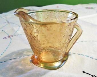 Jeannette Glass Floragold Louisa Creamer 1950s Carnival Glass Orange Iridescent