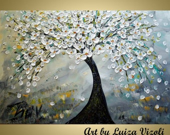 Original Modern Abstract 48x30 Cherry Blossom Tree Landscape Large Oil Acrylic Painting Grey White Silver