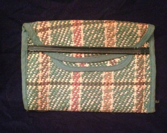Vintage green tweed purse