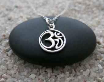 Small Om Necklace, Round Sterling Silver Om Charm, Zen Necklace, Yoga Jewelry