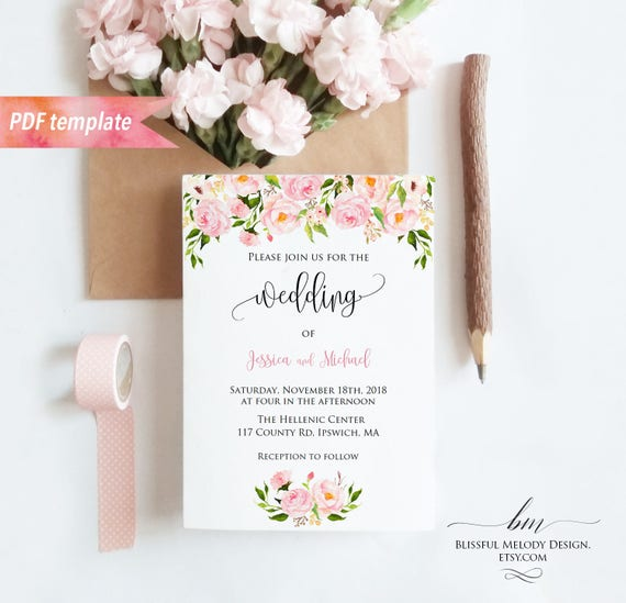 Printable Blush Pink Floral Wedding Invitation PDF Template