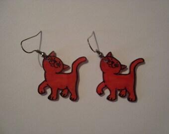 Fancy Red cat earrings