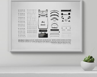 Typewriter Wall Art, Typewriter Print, Black and white, Modern Minimalist, Vintage Typewriter, Blogger Print, Gift for bloggers, Printable