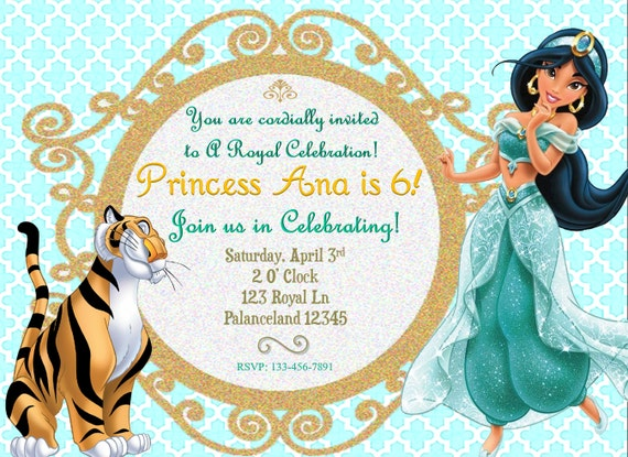 disney u0026 39 s jasmine birthday invitation