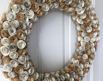 Paper Flower Wreath, Paper Wreath, Paper Anniversary gift, Flower Wreath, Flower book, Book Page Wreath, Indoor Wreath, Year Round Wreath