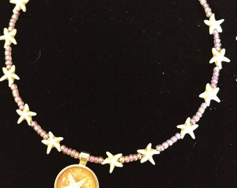 One of a Kind real starfish beaded necklace