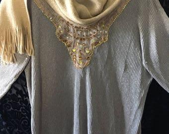 Vintage (Circa 1985-1990)Ribbed Knit V-Neck Sweater/Size L