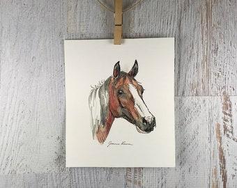 Horse art original watercolor & ink painting - Bay Paint