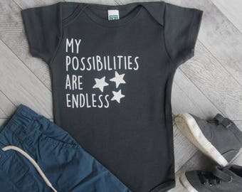 ENDLESS Possibilities! Organic Baby One Piece, Infant Bodysuit, Organic Baby Clothes, Baby Outfit, Unique Baby Gift, Gender Neutral Baby