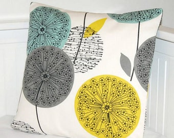 18 inch teal blue grey mustard yellow cushion cover, dandelion flower decorative pillow cover