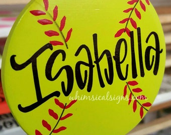Softball ornament, softball decor, softball gift, personalized softball ornament, hand lettered, ceramic, double sided... QUICK TURNAROUND