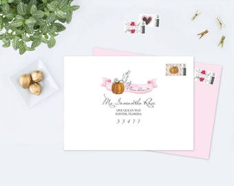 ENVELOPE ADDRESSING TEMPLATE Pumpkin, Editable pdf File, Customizable Acrobat Reader, Envelope Template, Address Template Printable Envelope