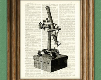Zenith TELESCOPE illustration beautifully upcycled dictionary page book art print