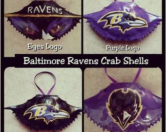 Baltimore Ravens Painted Crab Shells