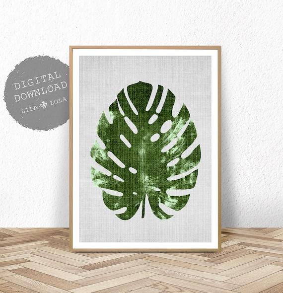 Monstera Leaf Print, Botanical Wall Art, Large Printable Poster, Digital Download, Tropical Decor, Printable Botanical Leaf Poster