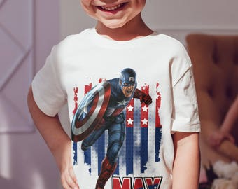 Captain America  Kids  T-Shirt, Childrens Toddlers T Shirt Top.