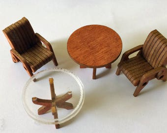 Quarter Scale 1:48  Cut Custom Patio Furniture Set KIT Stained