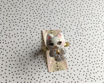 ceramic cat jewelry, kawaii cat porcelain ring 'le chat' for cat lovers