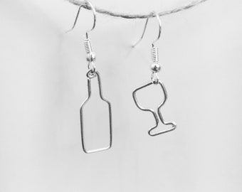 Wire Worked Wine Bottle & Glass Charm Earrings - Tiny Hand Worked Wine Lover Jewelry Gift - 21st Birthday Gift Her - Mothers Day - Wineo