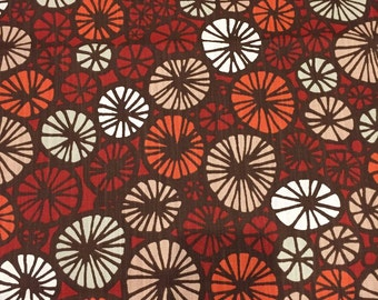 Tablecloth red white orange fawn circles, Scandinavian design