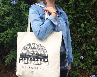 Flinders Street Station Bag, Calico Tote Bag, Designed and printed in Melbourne, 100% cotton, keepsake, souvenir, iconic, overseas gift