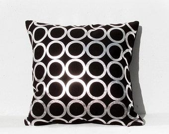 Silver Cushion Cover, Geometric Pillow Case, Holiday Decorative Pillow ,  Silver 02