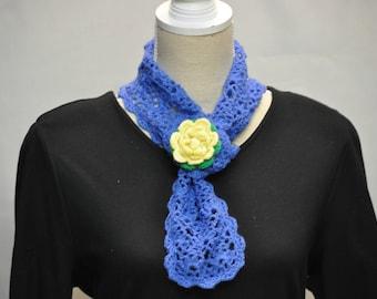 snood crochet blue wool tie