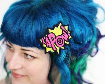 KAPOW Hair Clip, Comic Book Hair Barrette, Yellow & Hot Pink Plus Other Colours
