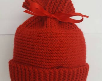 Newborn baby hat with ribbon