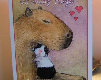 Large GUINEA PIG and CAPYBARA painting Art Little and Large hand made Birthday card by English artist Suzanne Le Good