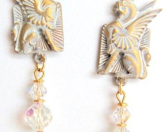 Frosty White Griffin earrings