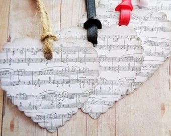 Valentine's Day Tags Sheet Music Heart Shaped Music Note Tag