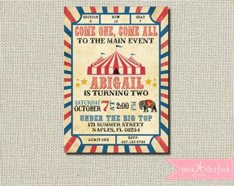Circus Birthday Invitation, Carnival Birthday Party, Big Top, Ticket, Circus Birthday Party, Vintage Circus Invitation, Vintage Carnival