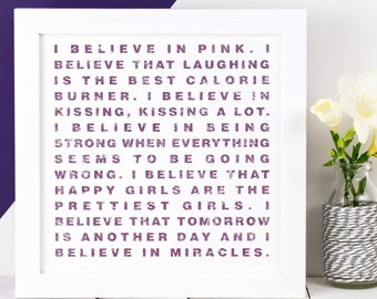 Audrey Hepburn Quote Print; Gift For Her; Pretty Wall Art; 'I believe in pink'; AP020