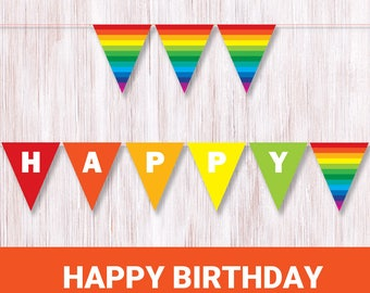 Happy Birthday Rainbow Banner Printable Rainbow Bunting Colorful party decor Rainbow birthday flags Rainbow colors Multi color paper banner