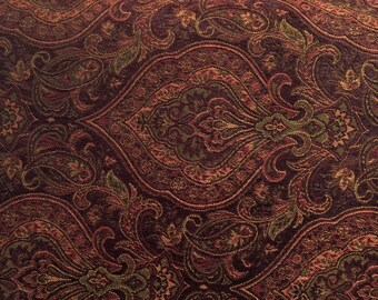 Dark Burgundy Damask - Upholstery Fabric by the Yard