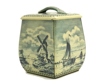 Vintage Tea Tin Box. Delft Style Storage Canister. Lithograph Tin Container with Sailboat and Windmill. Nautical Decor. Western Germany.